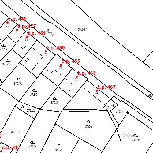 Katastrální mapa Stavební objekt Chvalčov 463, Chvalčov