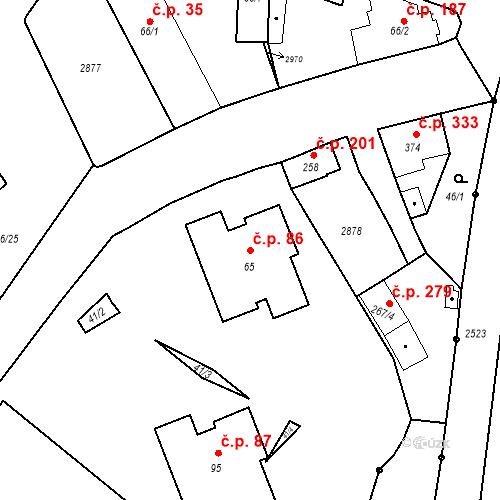 Katastrální mapa Stavební objekt Luhačovice 86, Luhačovice