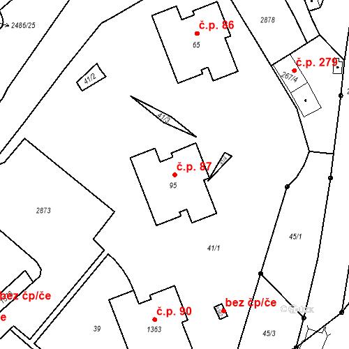 Katastrální mapa Stavební objekt Luhačovice 87, Luhačovice