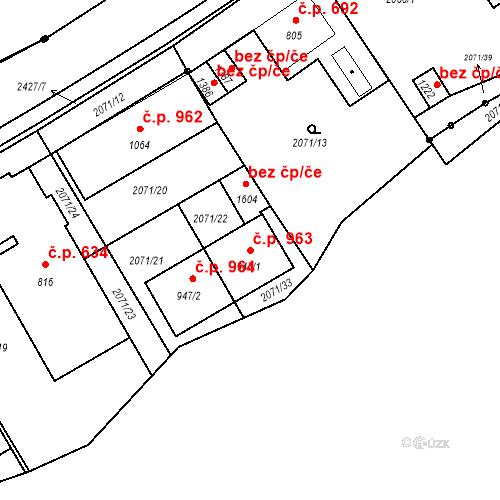 Katastrální mapa Stavební objekt Luhačovice 963, Luhačovice