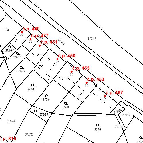 Katastrální mapa Stavební objekt Chvalčov 455, Chvalčov