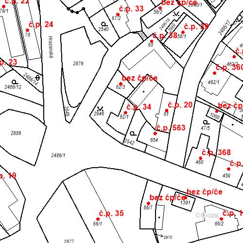 Katastrální mapa Stavební objekt Luhačovice 34, Luhačovice