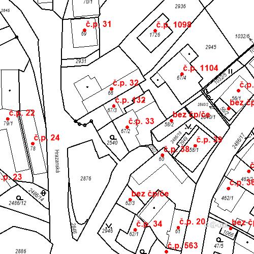 Katastrální mapa Stavební objekt Luhačovice 33, Luhačovice