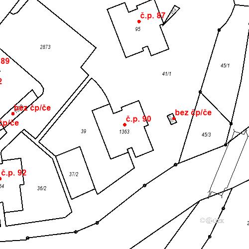 Katastrální mapa Stavební objekt Luhačovice 90, Luhačovice