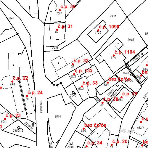 Katastrální mapa Stavební objekt Luhačovice 132, Luhačovice