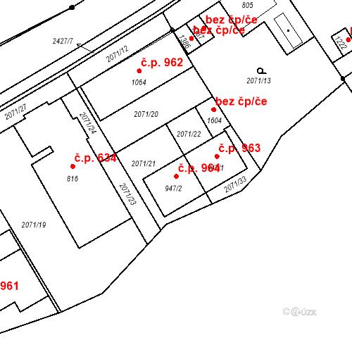 Katastrální mapa Stavební objekt Luhačovice 964, Luhačovice