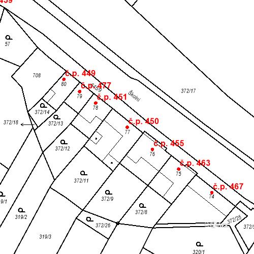 Katastrální mapa Stavební objekt Chvalčov 450, Chvalčov