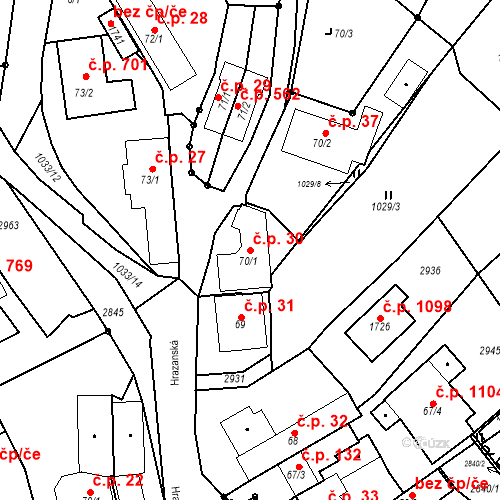 Katastrální mapa Stavební objekt Luhačovice 30, Luhačovice