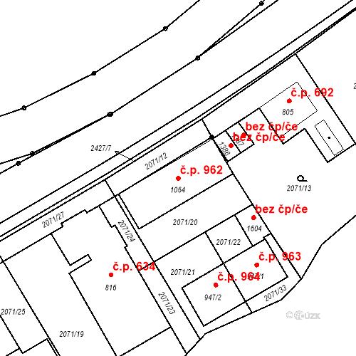 Katastrální mapa Stavební objekt Luhačovice 962, Luhačovice