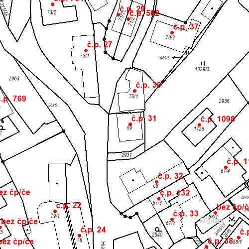 Katastrální mapa Stavební objekt Luhačovice 31, Luhačovice