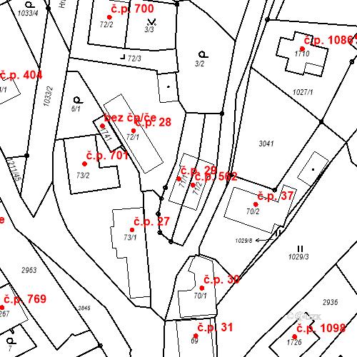 Katastrální mapa Stavební objekt Luhačovice 29, Luhačovice