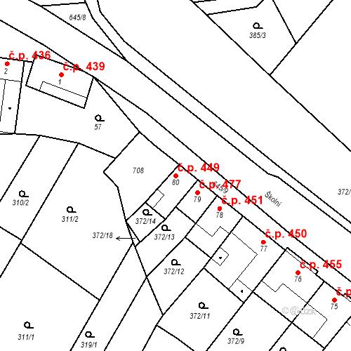 Katastrální mapa Stavební objekt Chvalčov 449, Chvalčov