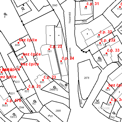 Katastrální mapa Stavební objekt Luhačovice 24, Luhačovice