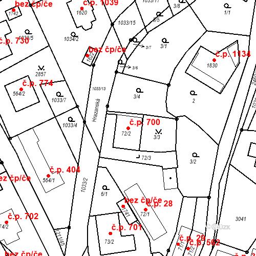 Katastrální mapa Stavební objekt Luhačovice 700, Luhačovice