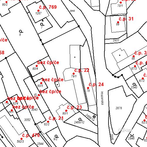 Katastrální mapa Stavební objekt Luhačovice 22, Luhačovice