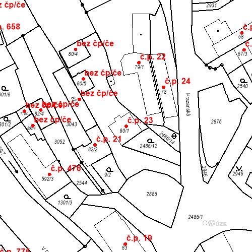 Katastrální mapa Stavební objekt Luhačovice 23, Luhačovice