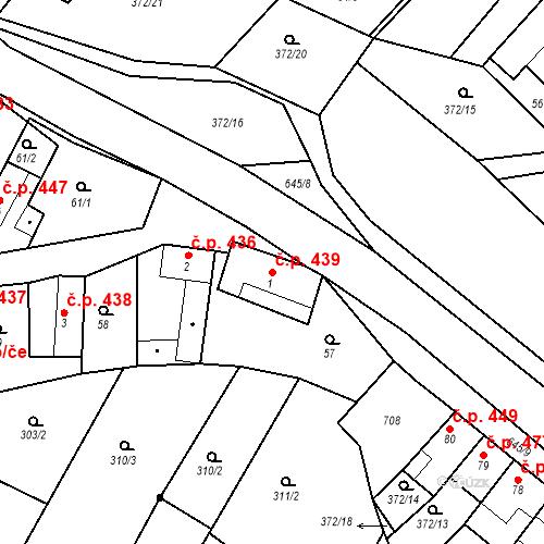 Katastrální mapa Stavební objekt Chvalčov 439, Chvalčov