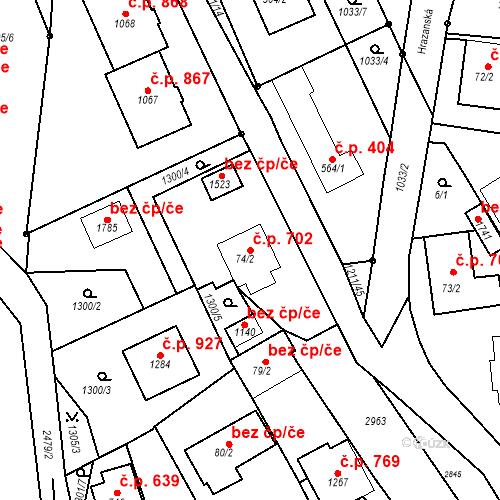 Katastrální mapa Stavební objekt Luhačovice 702, Luhačovice