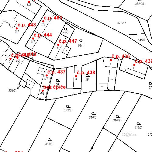Katastrální mapa Stavební objekt Chvalčov 438, Chvalčov
