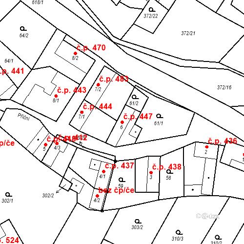 Katastrální mapa Stavební objekt Chvalčov 447, Chvalčov