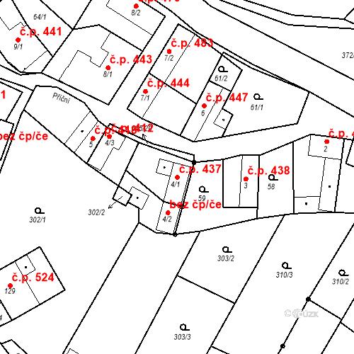 Katastrální mapa Stavební objekt Chvalčov 437, Chvalčov