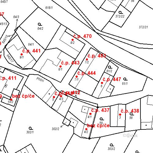 Katastrální mapa Stavební objekt Chvalčov 444, Chvalčov