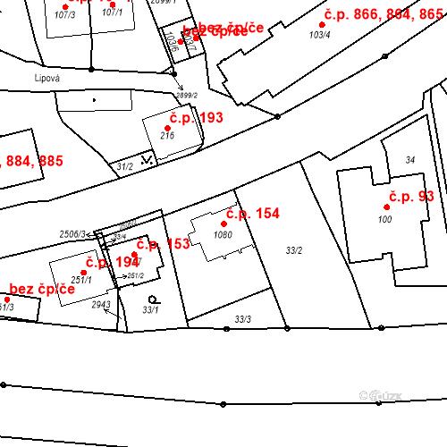 Katastrální mapa Stavební objekt Luhačovice 154, Luhačovice