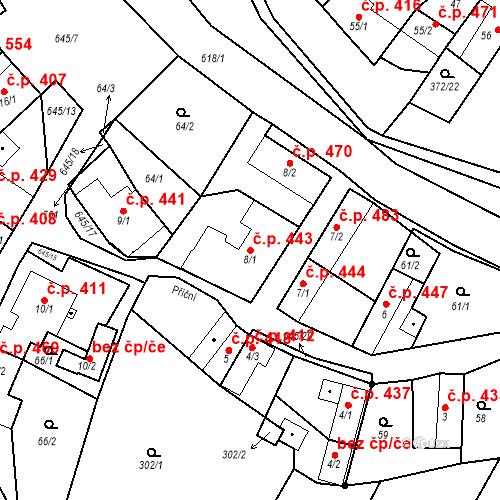 Katastrální mapa Stavební objekt Chvalčov 443, Chvalčov