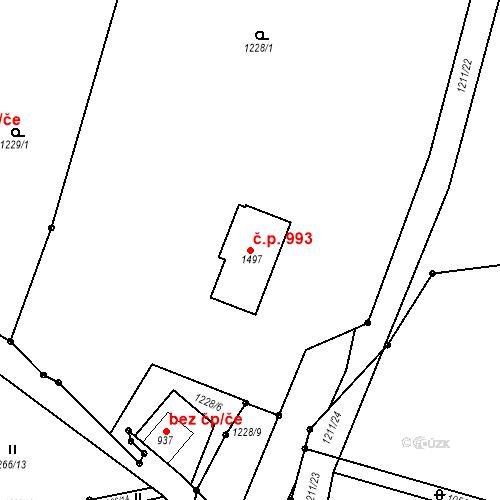 Katastrální mapa Stavební objekt Luhačovice 993, Luhačovice