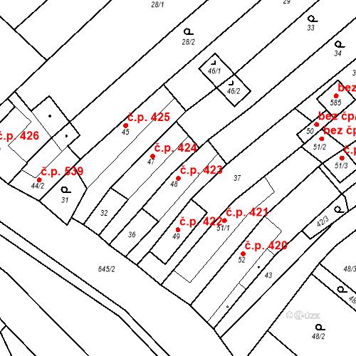Katastrální mapa Stavební objekt Chvalčov 423, Chvalčov