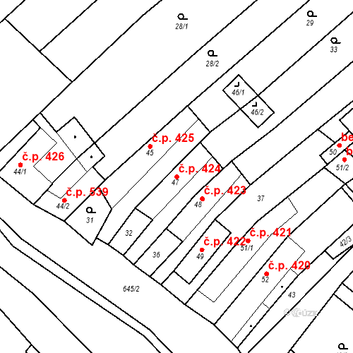 Katastrální mapa Stavební objekt Chvalčov 424, Chvalčov