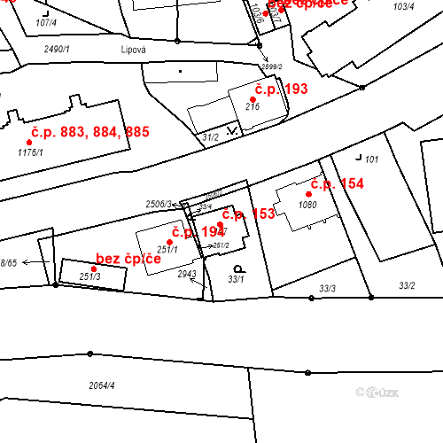 Katastrální mapa Stavební objekt Luhačovice 153, Luhačovice
