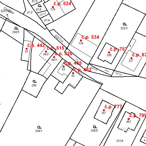 Katastrální mapa Stavební objekt Chvalčov 452, Chvalčov