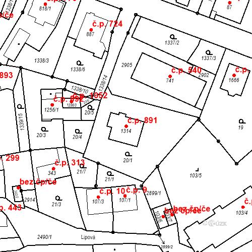 Katastrální mapa Stavební objekt Luhačovice 891, Luhačovice