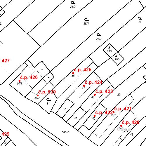 Katastrální mapa Stavební objekt Chvalčov 425, Chvalčov