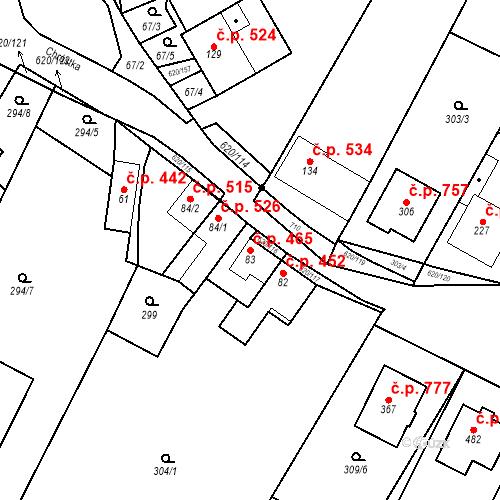 Katastrální mapa Stavební objekt Chvalčov 465, Chvalčov
