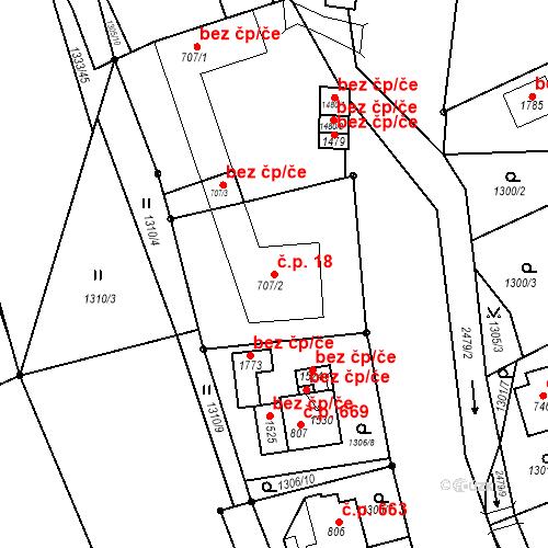 Katastrální mapa Stavební objekt Luhačovice 18, Luhačovice