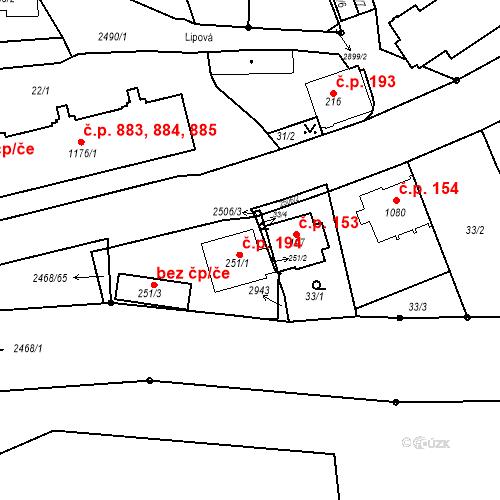 Katastrální mapa Stavební objekt Luhačovice 194, Luhačovice