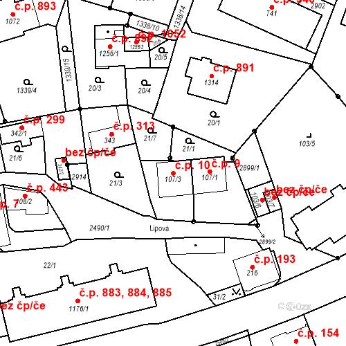 Katastrální mapa Stavební objekt Luhačovice 10, Luhačovice