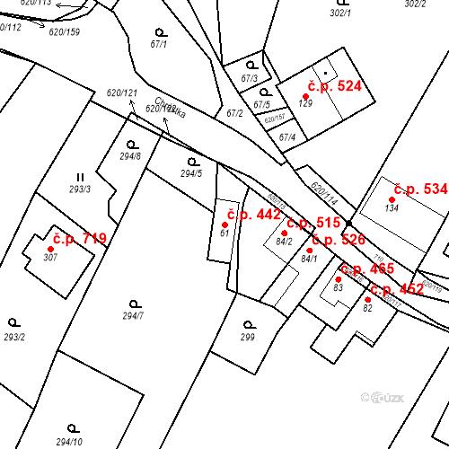Katastrální mapa Stavební objekt Chvalčov 442, Chvalčov