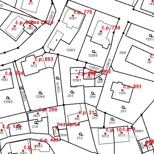 Katastrální mapa Stavební objekt Luhačovice 892, Luhačovice