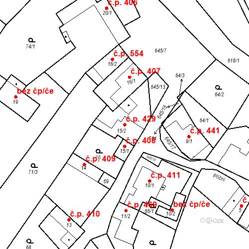 Katastrální mapa Stavební objekt Chvalčov 429, Chvalčov