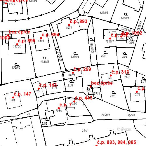 Katastrální mapa Stavební objekt Luhačovice 299, Luhačovice