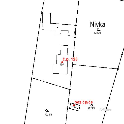 Katastrální mapa Stavební objekt Luhačovice 128, Luhačovice