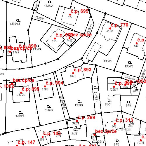 Katastrální mapa Stavební objekt Luhačovice 893, Luhačovice