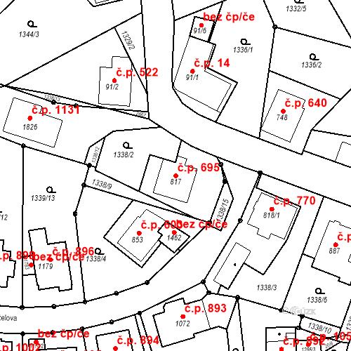 Katastrální mapa Stavební objekt Luhačovice 695, Luhačovice
