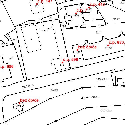 Katastrální mapa Stavební objekt Luhačovice 599, Luhačovice