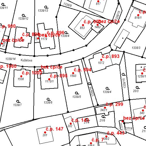 Katastrální mapa Stavební objekt Luhačovice 894, Luhačovice