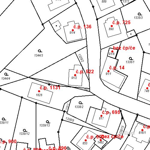 Katastrální mapa Stavební objekt Luhačovice 522, Luhačovice