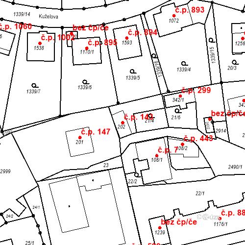 Katastrální mapa Stavební objekt Luhačovice 143, Luhačovice
